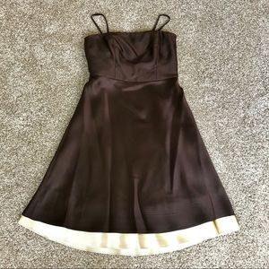 Ann Taylor Strapless Chocolate Brown Silk Dress